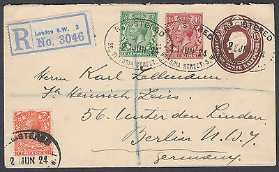 1924KGV uprated1 1/2d brown Stationery Envelope Registered London:Berlin,Germany