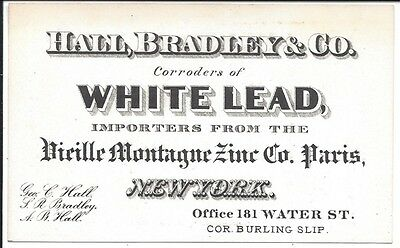 1870 Business Card, Corroders of White Lead, Water Street, NY