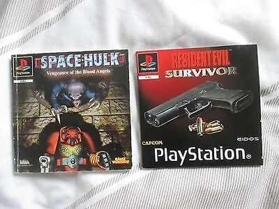 RESIDENT EVIL SURVIVIR & SPACE HULK - PS1  Instruction Manual Only Playstation 1
