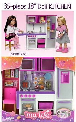 """35pc Doll KITCHEN+Refrigerator+Accessories PLAYSET 18"""" American Girl My Life As"""