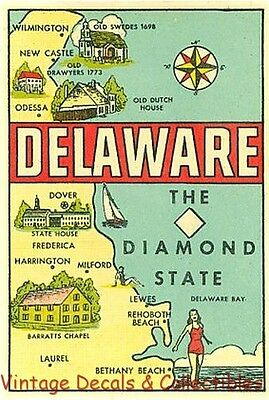 Vintage Delaware Travel Decal Diamond State Map Goldfarb Souvenir Water Sticker