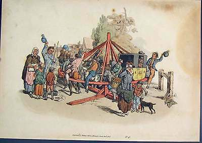 Old Antique Print Hand Colored The Roundabout Ferry Wheel 135911
