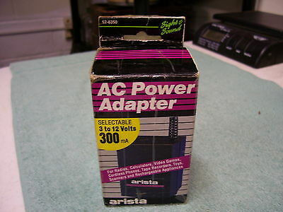 ARISTA 52-8350 AC ADAPTER POWER SUPPLY  3-12 VOLTS, 300mA  NOS
