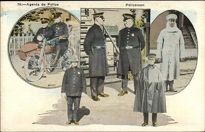 Police Officers Cops & Motocycle - Multi_View c1920 Postcard