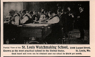 2 Early 1900  Ads St Louis Watchmaking School New Building Photo Students