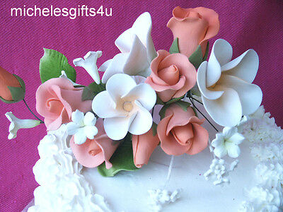 Gum Paste Peach Orange Roses White Frangipani Hawaiian Lei Sugar Cake Flowers