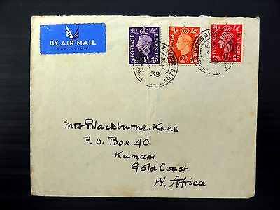 GB 1938 G.VI - 2d & 3d on Airmail FDC to Gold Coast FP8743