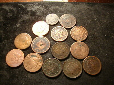 13 Cull Some dated 1833 1837 1853 1851 1818 1848 1850  Large Cents SLOSS