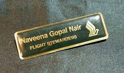 "Singapore Airlines SIA stewardess name badge Flight Attendant crew ""lock damage"""