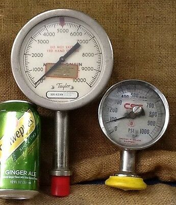 Vintage Lot Of 2 Old Pressure Gauges With Lens Steampunk