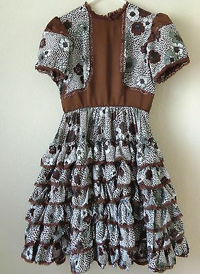 Brown & White, Lacy, Floral Design, Square Dance Dress, Possibly Homemade