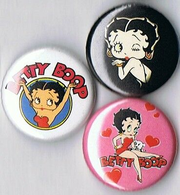 set of 3 Betty Boop pins buttons badges
