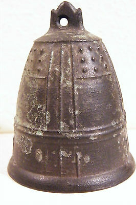 "Vintage Japan LABEL Japanese Bronze or Brass Bell - 2 5/8"" Tall"