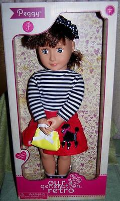 """Our Generation Retro PEGGY 18"""" Doll in Poodle Skirt Outfit  New"""