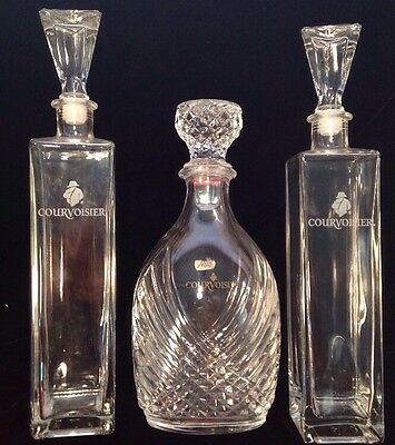 Lot of 3 COURVOISIER COGNAC Beautiful Crystal DECANTER BOTTLES with STOPPERS