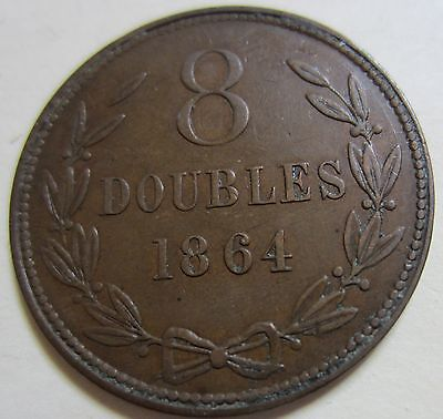 1864 Bailiwick of Jersey (Guernsey) Eight DOUBLES Coin. BETTER GRADE (W1737)