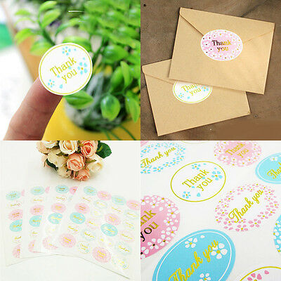 """120Pcs Multi-Color Oval """"Thank You"""" Self Adhesive Seal Sticker For Envelope Gift"""