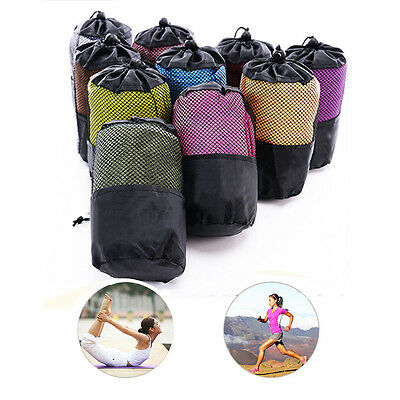 """Sports Towel with Bag Outdoor Fitness Running Yoga Sweat Microfiber Cloth12""""x39"""""""