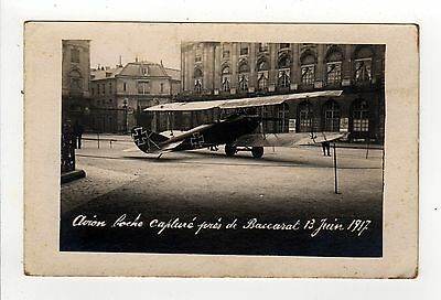BACCARAT FRANCE French RPPC Real Photo Postcard CAPTURED GERMAN AIR FORCE PLANE