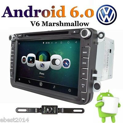 8'' Car DVD Player Quad Core Android 6.0 GPS Navi 2Din For VW Jetta Passat +Cam