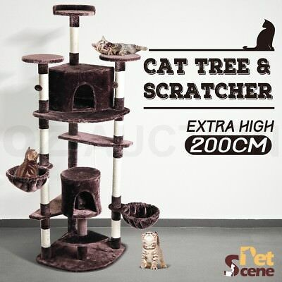 200cm Multi Level Climbing Cat Tree Scratching Post Pole Scratcher Gym House