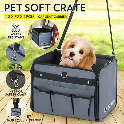 Large Pet Soft Crate Portable Dog Cat Car Seat Carrier Kennel Foldable Carry Bag
