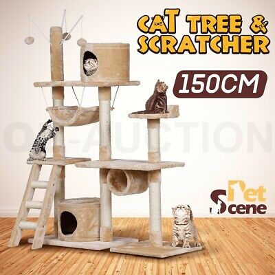 150cm Cat Tree Scratching Post Scratcher Pole Gym House Climbing Multi Level