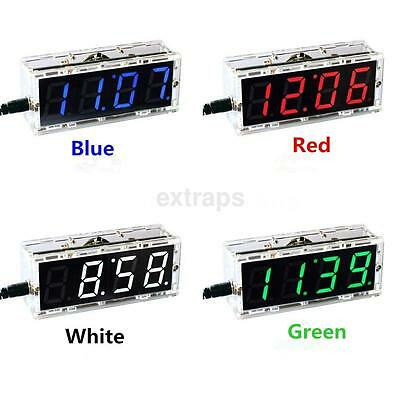 Best 4-Digit LED Digital Electronic Clock DIY Kit Light Control Transparent Case