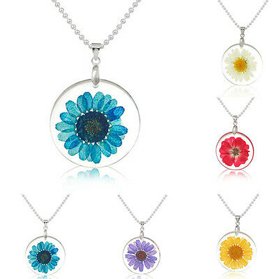 Women Fashion Transparent Resin Dried Flower Daisy Pendant Necklace Boho Jewelry