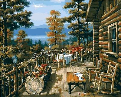 16X20'' Wood House DIY Acrylic Paint By Number Kit Painting On Canvas Home Decor