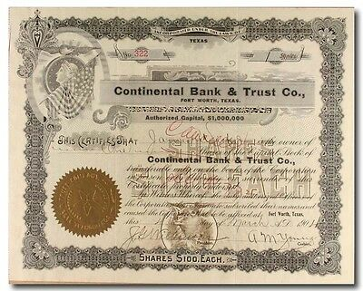 S396 Continental Bank & Trust Company Stock Certificate Black
