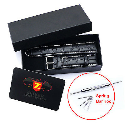 Mens Genuine Leather Watch Band Belt Strap 20mm 22mm + Tool Pins Box Promotion