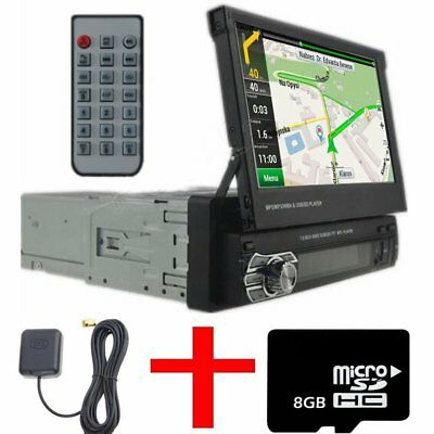 "1 Din Single 7"" HD Touch Screen Car MP3 MP5 Bluetooth GPS Navigation+Map"