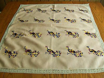 """SMALL ANTIQUE VICTORIAN LUNCHEON TABLECLOTH ~ HAND EMBROIDERED PHEASANTS 32""""x36"""""""