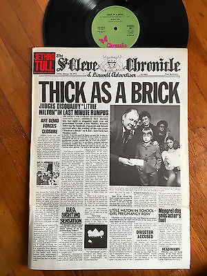 LP ITALY 1972 NM  Jethro Tull ‎– Thick As A Brick Label: Chrysalis ‎– 040 1003,