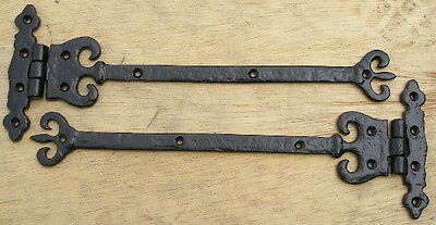 "PAIR of BLACK ANTIQUE STYLE 12"" ORNATE STEEL DOOR HINGES"