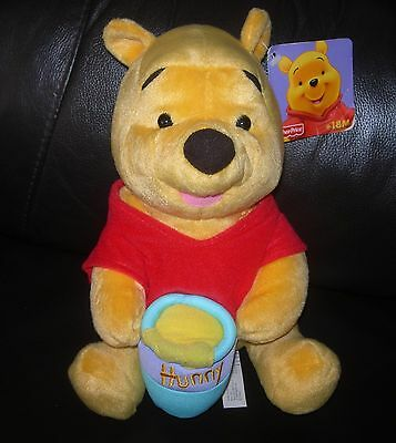 "Disney Winnie the Pooh 9"" Fisher Price excellent quality plush soft toy with tag"