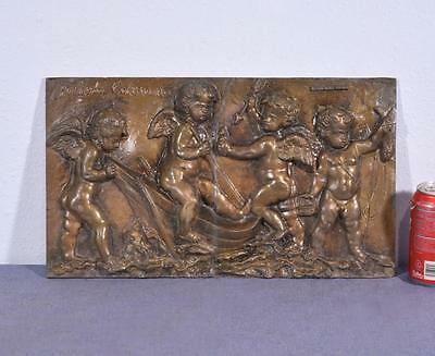 """*18"""" Antique Bronze Sculpture/Plaque/Wall Hanging of Four Cherubs with a Boat"""