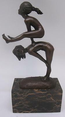 Charming Bronze Sculpture of Two Children 'Leapfrog' - Solid Marble Base