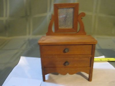 "Vintage C.L. Wood Maker Wooden Doll Furniture Dresser w/mirror  ""RARE"""