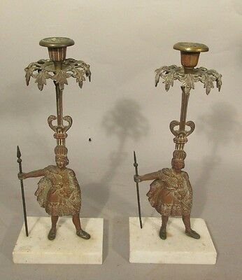 PAIR Antique NATIVE AMERICAN INDIAN Bronze Candle Holders w Prisms GIRONDOLES
