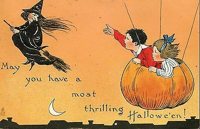 Halloween Postcard With Witch On Her Broom & Children In a Pumpkin In The Sky