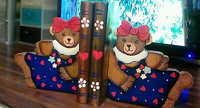 Teddy Bear wooden Book Ends - Hand-Painted Childrens Nursery Decor