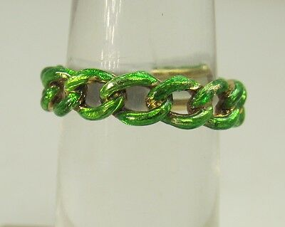 Vintage Bright Green Enamel 18K Yellow Gold Chain Link Band Ring
