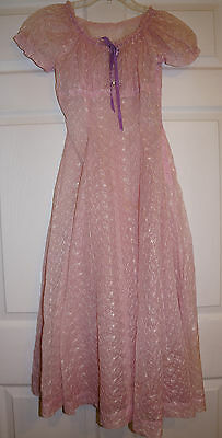 Vintage 1940-50's sheer see through embroidered Chiffon Dress XS ladies Juniors