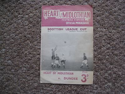 1954 Programme Heart of Midlothian v Dundee 14th August Scottish League Cup