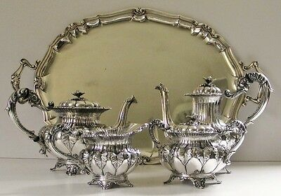 """Italian Sterling Silver Tea/Coffee Service 4 pieces +Tray with """"800"""" mark preWW"""