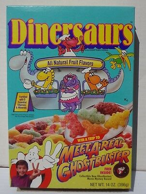 1989 Dinersaurs Cereal Box Ralston Ghostbusters record offer