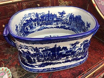 Antique Blue And White Victoria Ware Wine Cooler Bowl