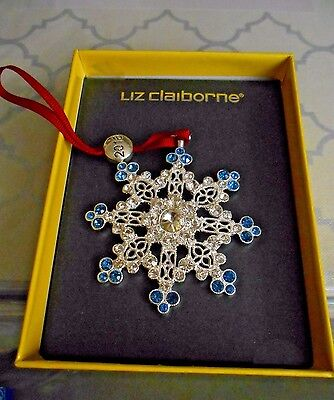 New LIZ CLAIBORNE BLUE SILVER Crystal SNOWFLAKE CHRISTMAS ORNAMENT 2016 Gift
